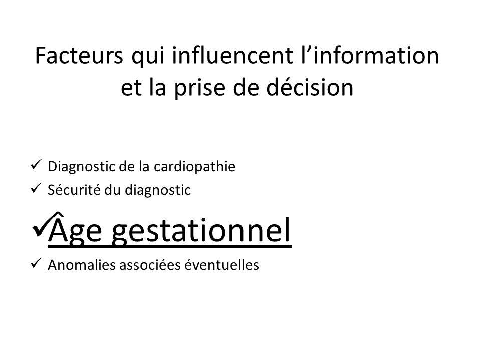 Diagnostic de la cardiopathie Sécurité du diagnostic Âge gestationnel Anomalies associées éventuelles Facteurs qui influencent linformation et la pris