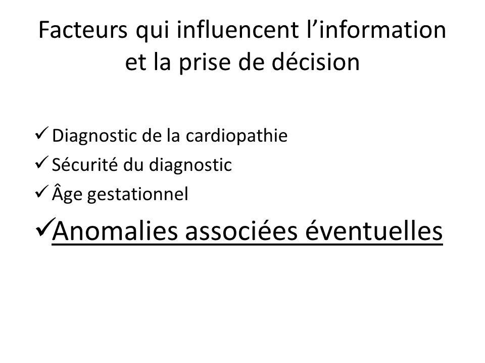 Facteurs qui influencent linformation et la prise de décision Diagnostic de la cardiopathie Sécurité du diagnostic Âge gestationnel Anomalies associée