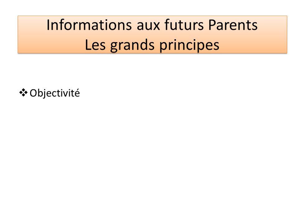Informations aux futurs Parents Les grands principes Objectivité