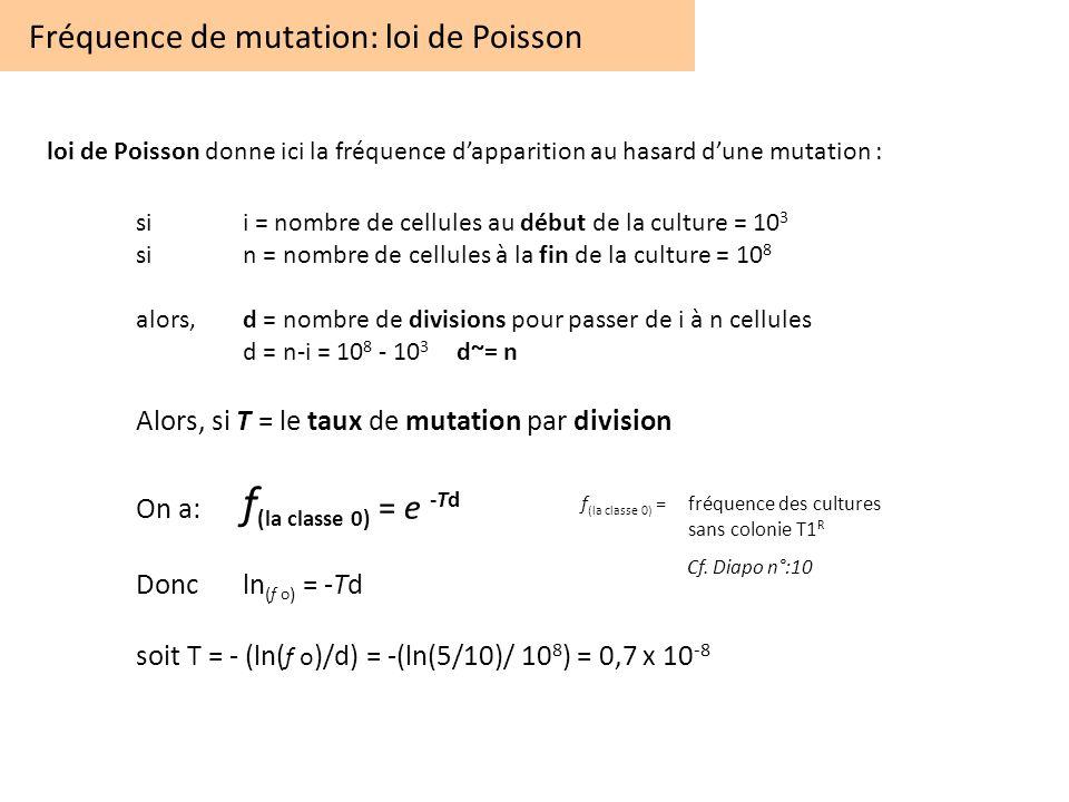 Fréquence de mutation: loi de Poisson loi de Poisson donne ici la fréquence dapparition au hasard dune mutation : sii = nombre de cellules au début de