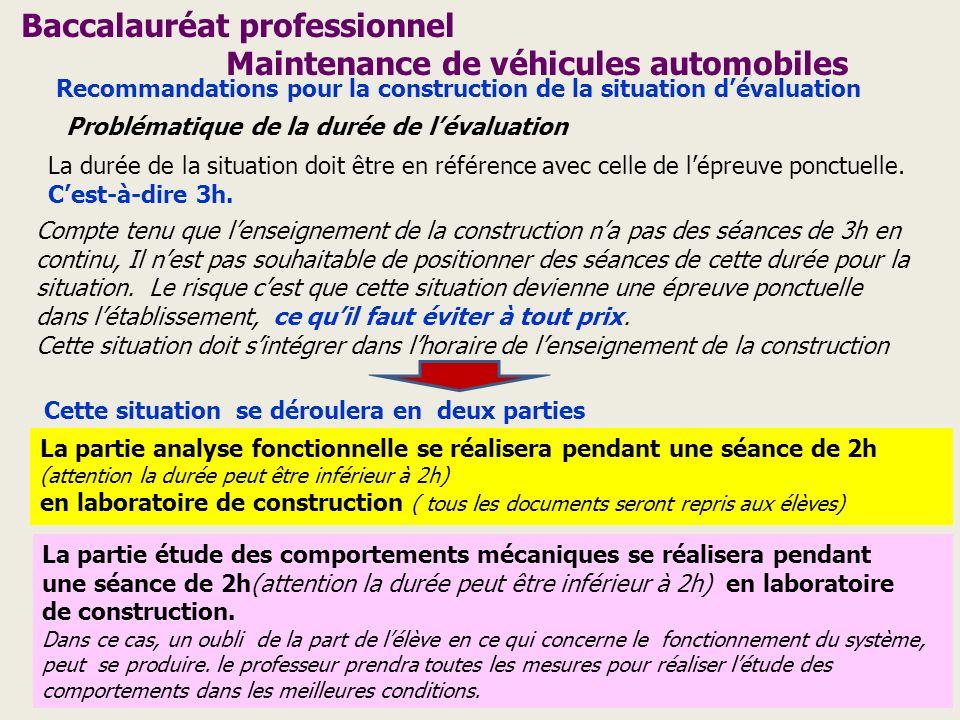 Baccalauréat professionnel Maintenance de véhicules automobiles Recommandations pour la construction de la situation dévaluation Problématique de la d