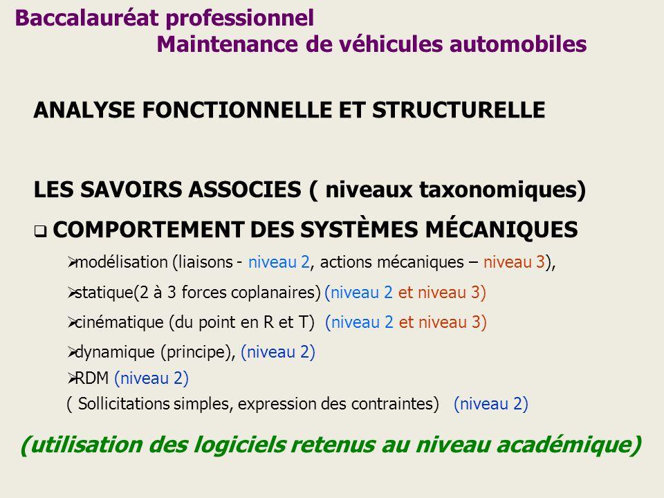 Baccalauréat professionnel Maintenance de véhicules automobiles ANALYSE FONCTIONNELLE ET STRUCTURELLE LES SAVOIRS ASSOCIES ( niveaux taxonomiques) COM