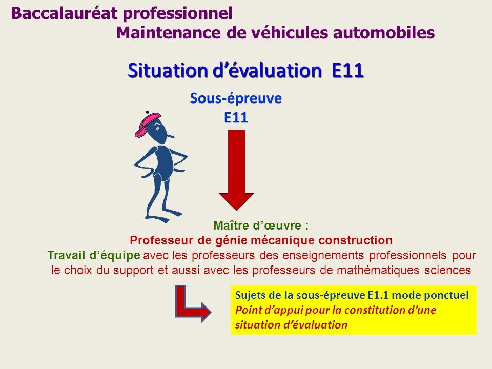 Baccalauréat professionnel Maintenance de véhicules automobiles Situation dévaluation E11 Sous-épreuve E11 Maître dœuvre : Professeur de génie mécaniq