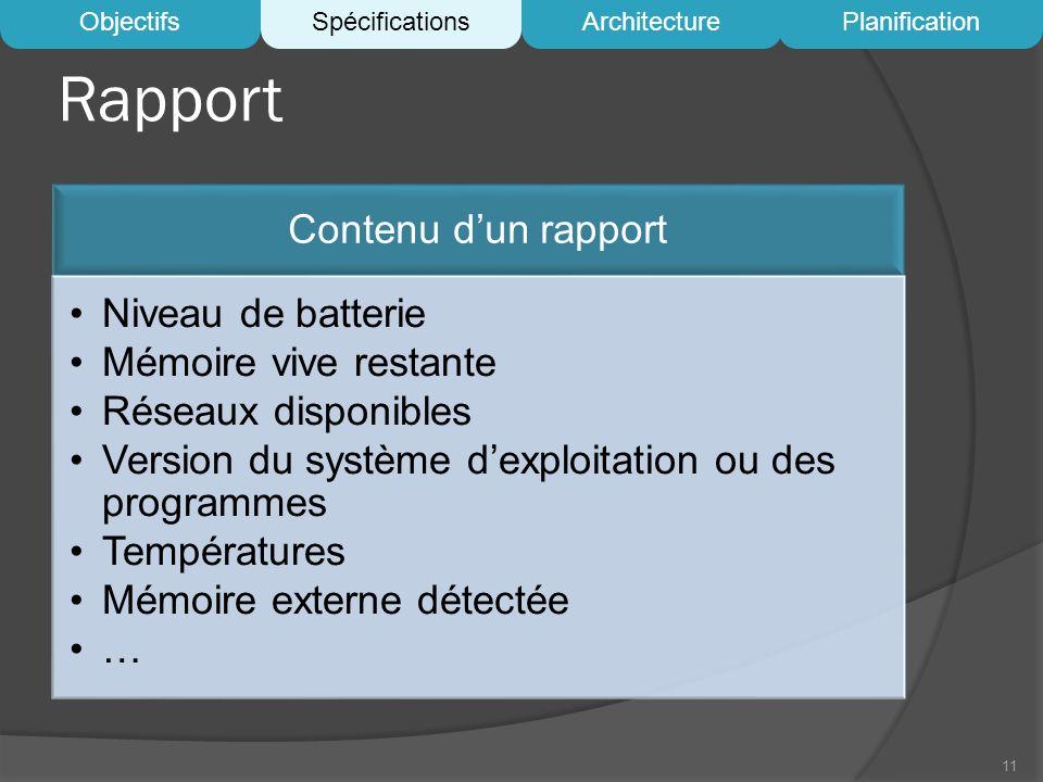 Rapport Contenu dun rapport Niveau de batterie Mémoire vive restante Réseaux disponibles Version du système dexploitation ou des programmes Températur
