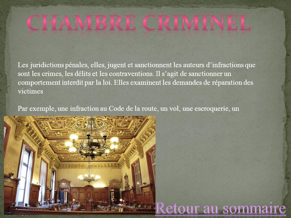Les juridictions pénales, elles, jugent et sanctionnent les auteurs dinfractions que sont les crimes, les délits et les contraventions. Il sagit de sa