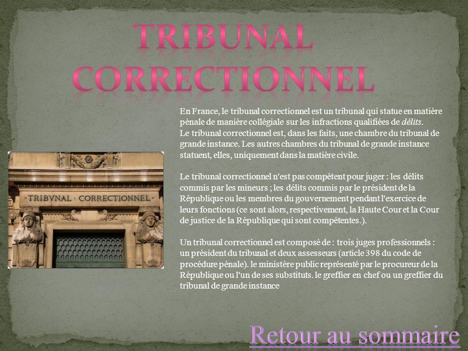 En France, le tribunal correctionnel est un tribunal qui statue en matière pénale de manière collégiale sur les infractions qualifiées de délits. Le t