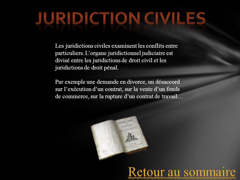 Les juridictions civiles examinent les conflits entre particuliers. Lorgane juridictionnel judiciaire est divisé entre les juridictions de droit civil