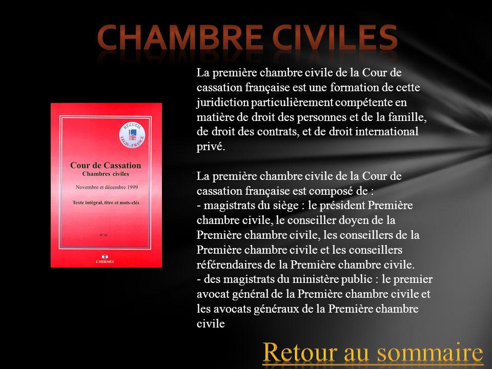La première chambre civile de la Cour de cassation française est une formation de cette juridiction particulièrement compétente en matière de droit de