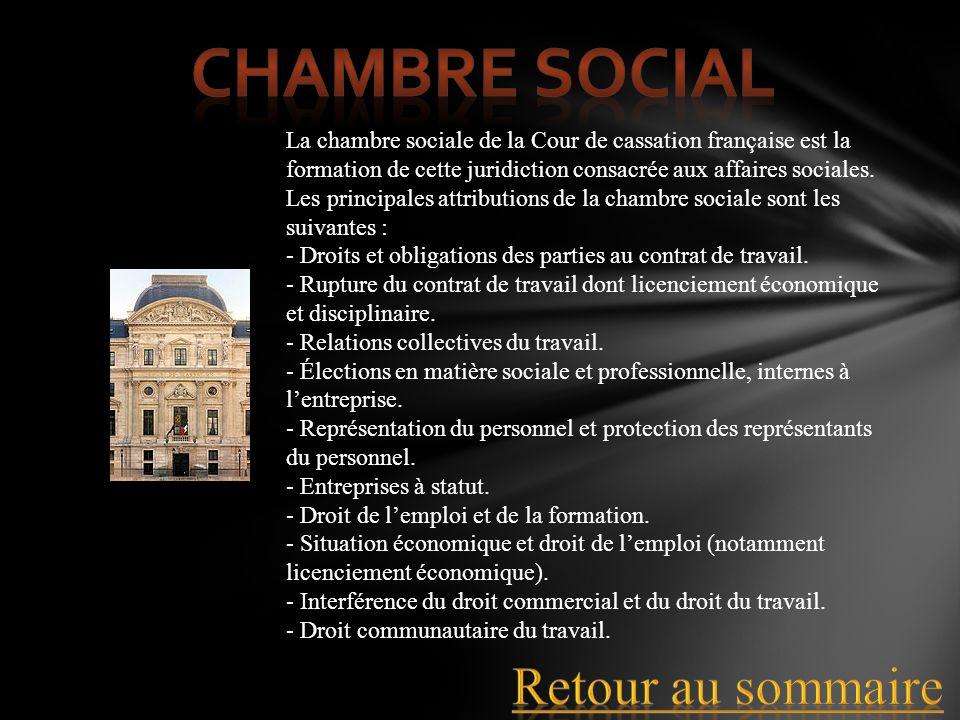 La chambre sociale de la Cour de cassation française est la formation de cette juridiction consacrée aux affaires sociales. Les principales attributio