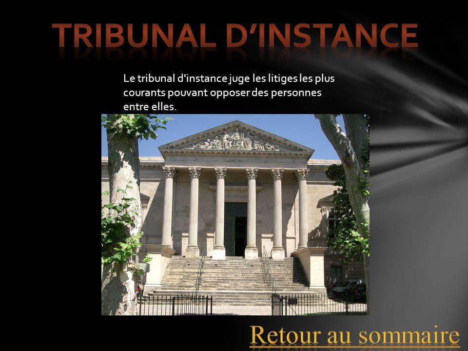 Le tribunal d'instance juge les litiges les plus courants pouvant opposer des personnes entre elles.