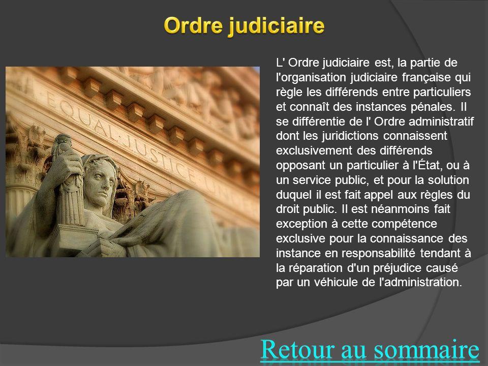 L' Ordre judiciaire est, la partie de l'organisation judiciaire française qui règle les différends entre particuliers et connaît des instances pénales