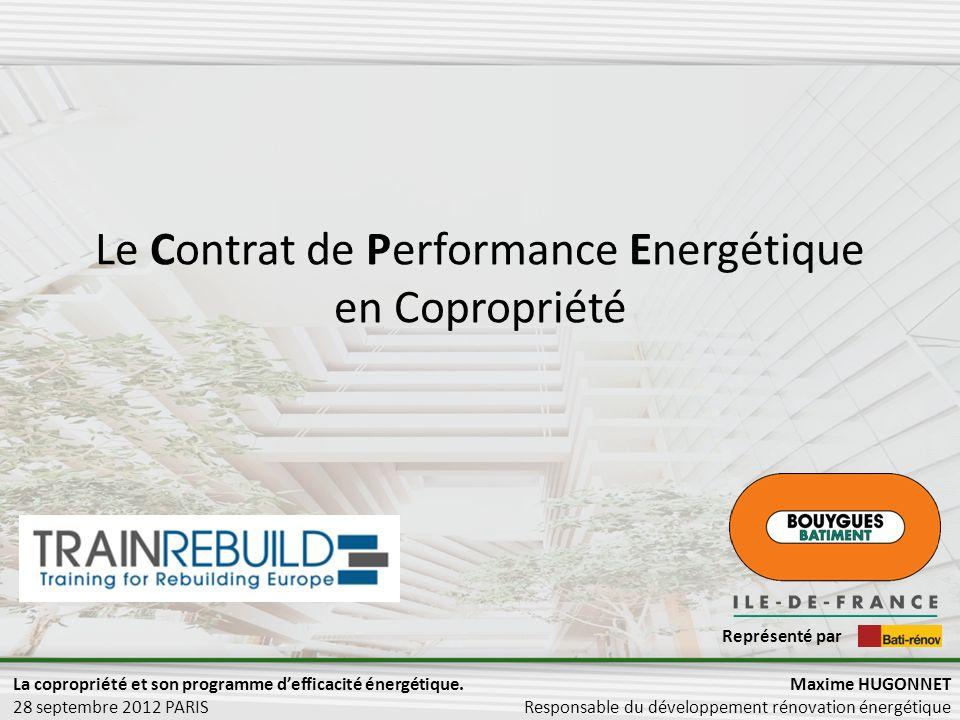 Le Contrat de Performance Energétique en Copropriété Maxime HUGONNET Responsable du développement rénovation énergétique Représenté par La copropriété et son programme defficacité énergétique.