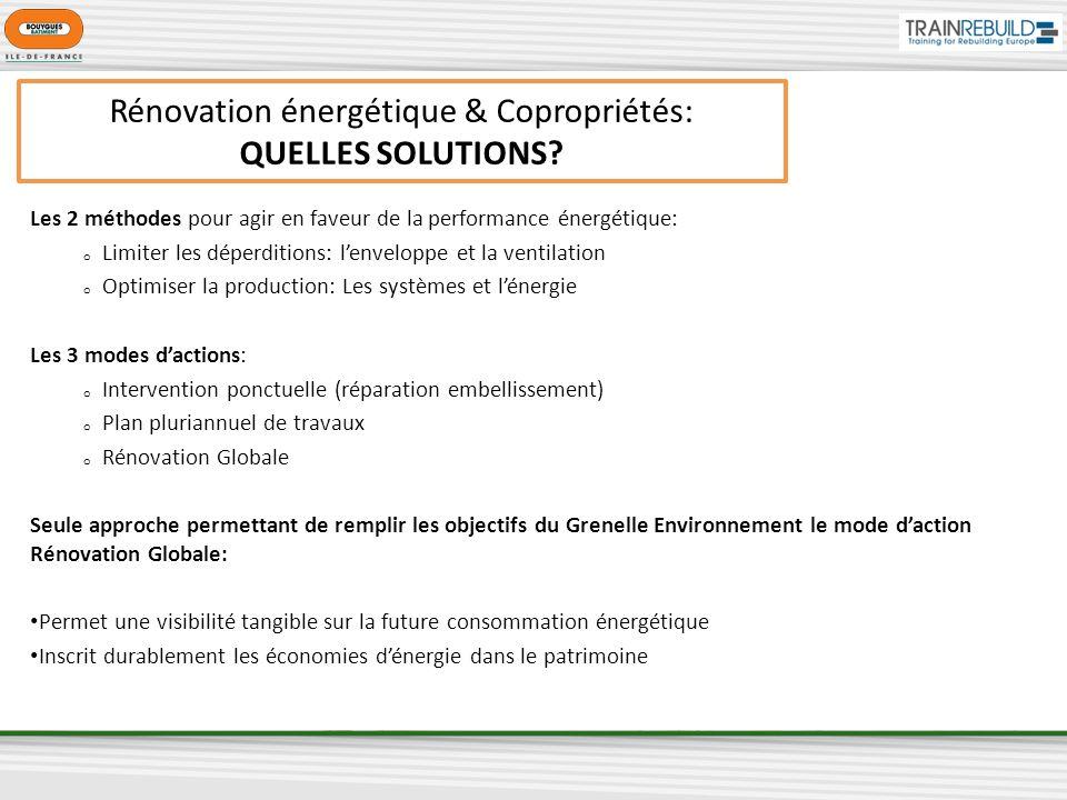 Rénovation énergétique & Copropriétés: QUELLES SOLUTIONS? Les 2 méthodes pour agir en faveur de la performance énergétique: o Limiter les déperditions