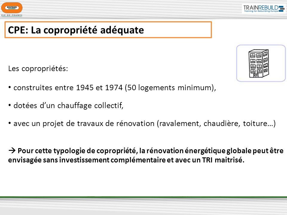 CPE: La copropriété adéquate Les copropriétés: construites entre 1945 et 1974 (50 logements minimum), dotées dun chauffage collectif, avec un projet de travaux de rénovation (ravalement, chaudière, toiture…) Pour cette typologie de copropriété, la rénovation énergétique globale peut être envisagée sans investissement complémentaire et avec un TRI maitrisé.