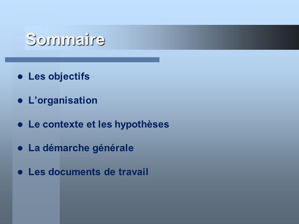 Sommaire Les objectifs Lorganisation Le contexte et les hypothèses La démarche générale Les documents de travail
