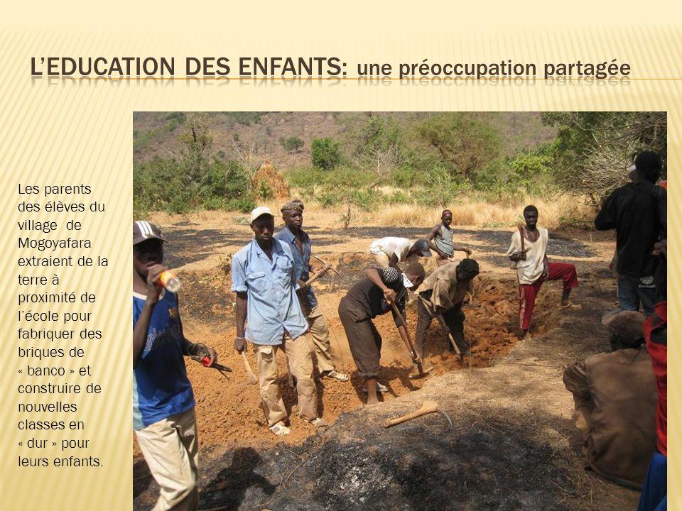 Les parents des élèves du village de Mogoyafara extraient de la terre à proximité de lécole pour fabriquer des briques de « banco » et construire de n