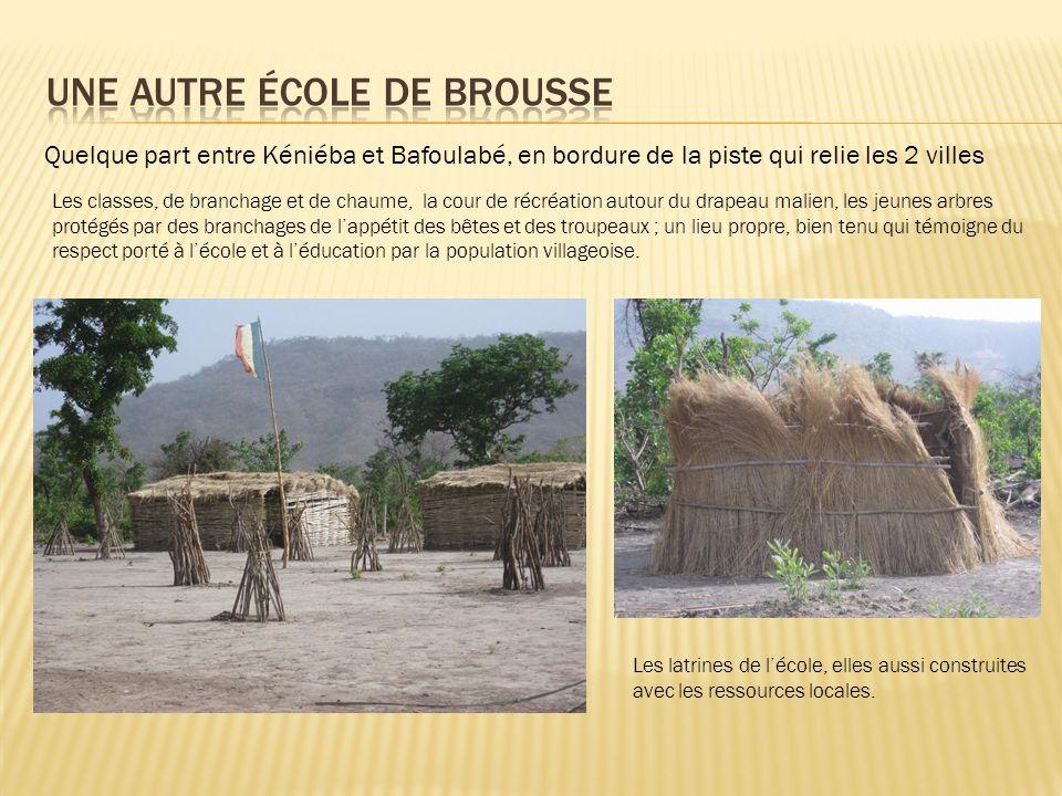 Quelque part entre Kéniéba et Bafoulabé, en bordure de la piste qui relie les 2 villes Les classes, de branchage et de chaume, la cour de récréation a