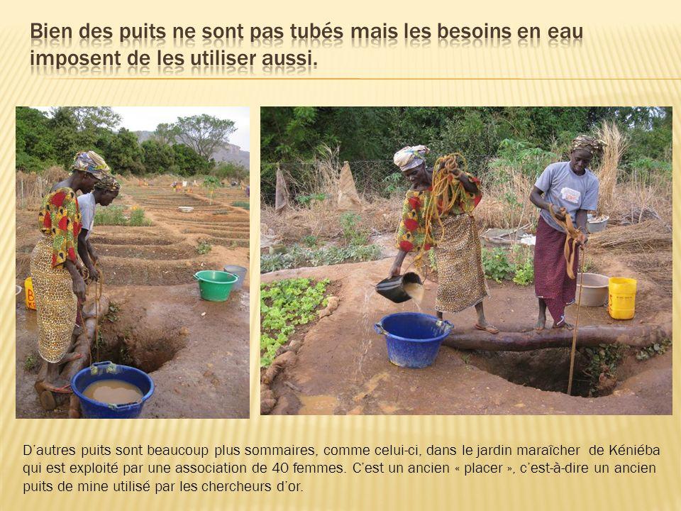 Dautres puits sont beaucoup plus sommaires, comme celui-ci, dans le jardin maraîcher de Kéniéba qui est exploité par une association de 40 femmes. Ces