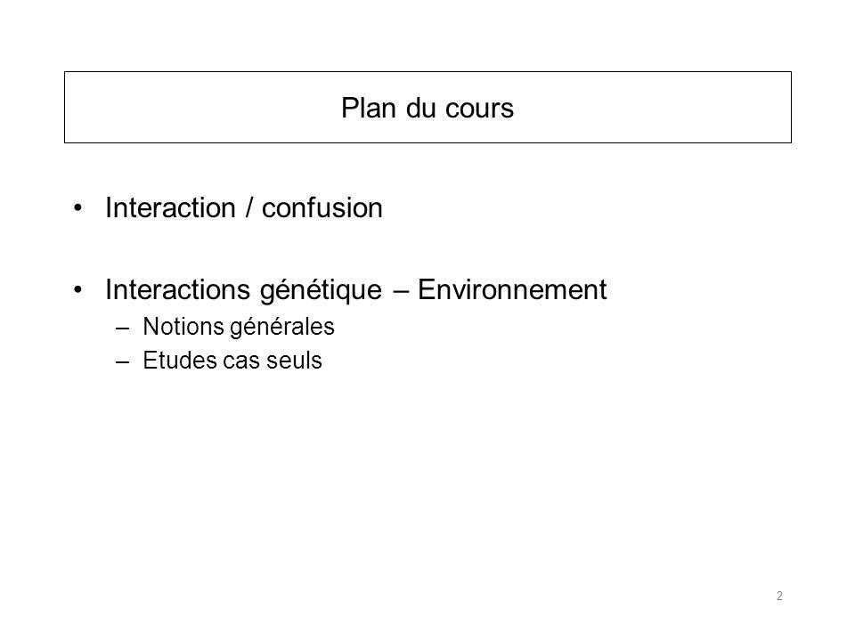 Plan du cours Interaction / confusion Interactions génétique – Environnement –Notions générales –Etudes cas seuls 2