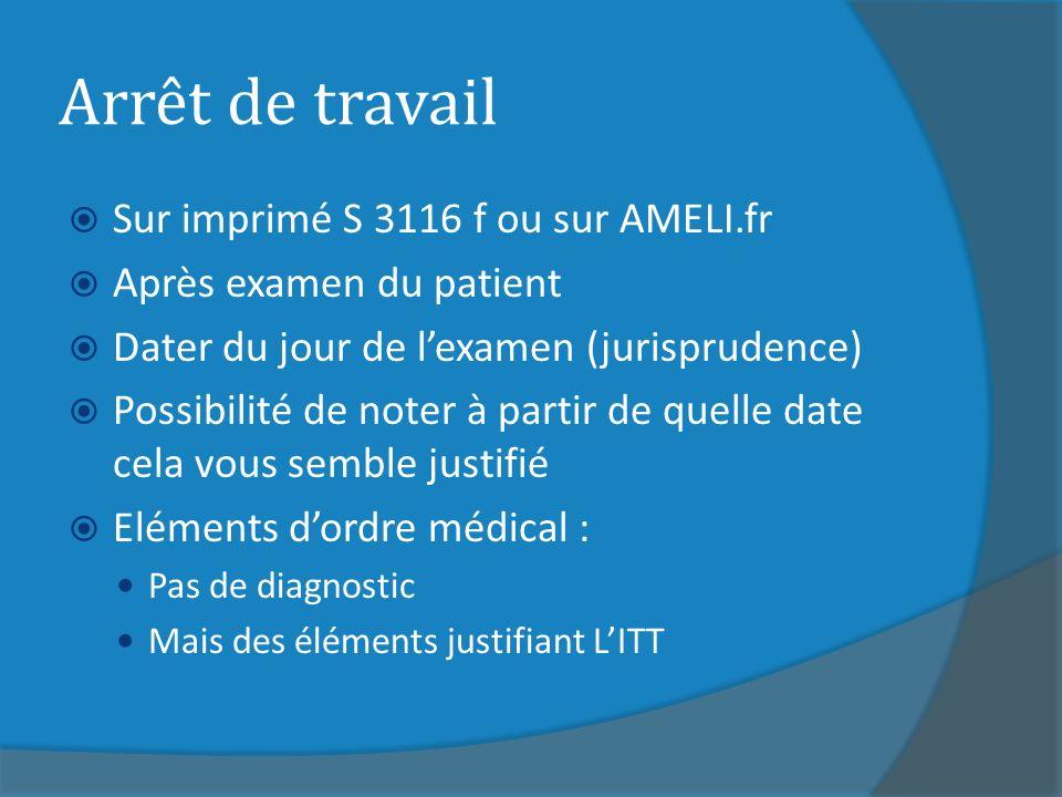 Arrêt de travail Sur imprimé S 3116 f ou sur AMELI.fr Après examen du patient Dater du jour de lexamen (jurisprudence) Possibilité de noter à partir d