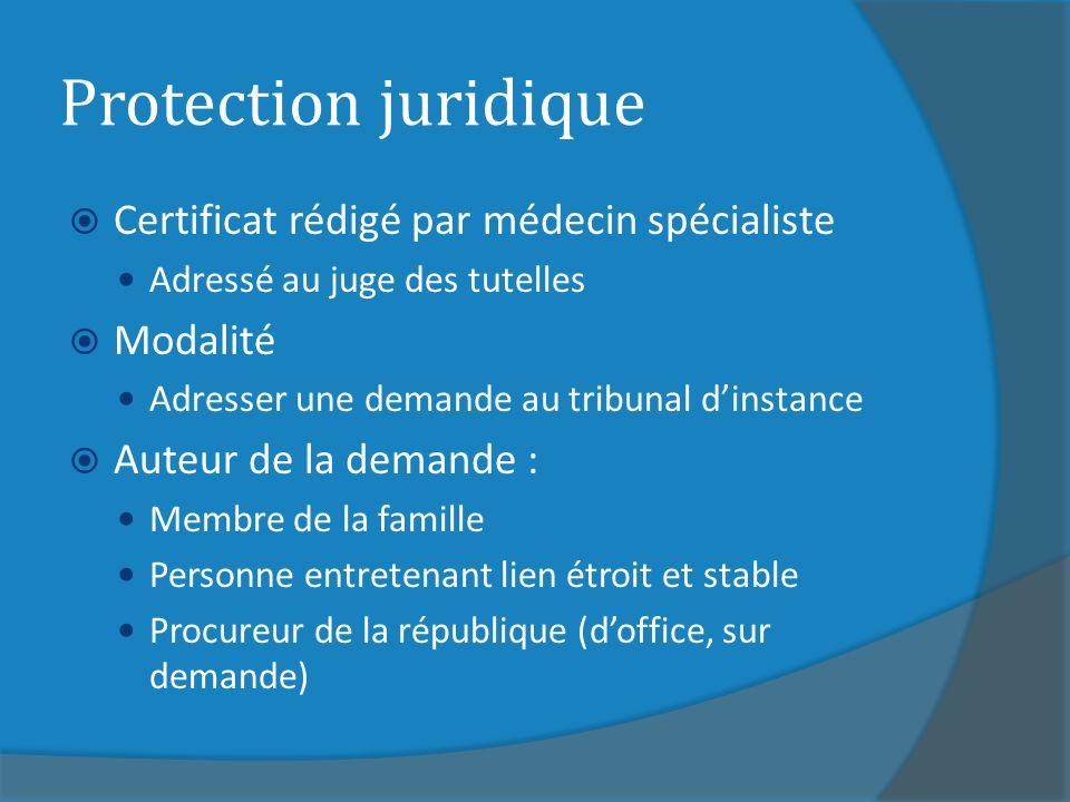 Protection juridique Certificat rédigé par médecin spécialiste Adressé au juge des tutelles Modalité Adresser une demande au tribunal dinstance Auteur