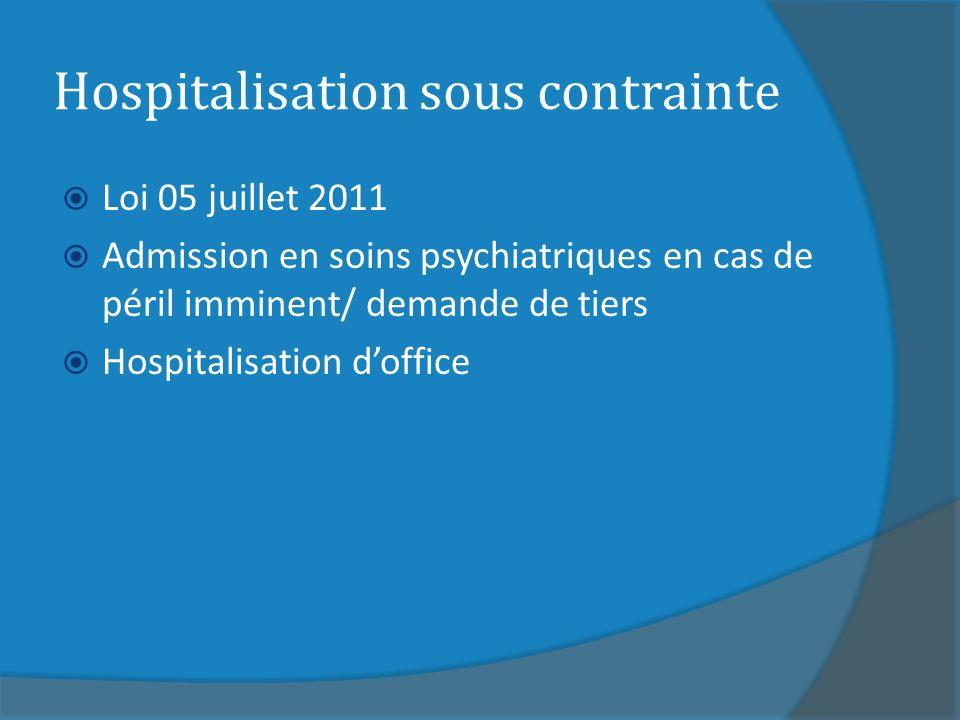 Hospitalisation sous contrainte Loi 05 juillet 2011 Admission en soins psychiatriques en cas de péril imminent/ demande de tiers Hospitalisation doffice