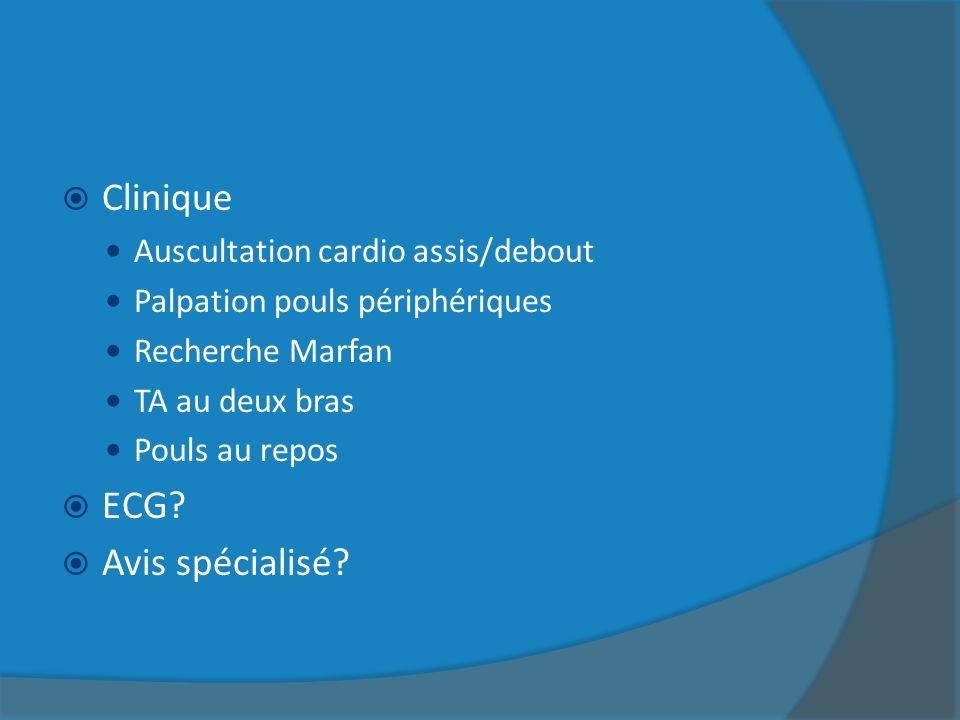 Clinique Auscultation cardio assis/debout Palpation pouls périphériques Recherche Marfan TA au deux bras Pouls au repos ECG? Avis spécialisé?