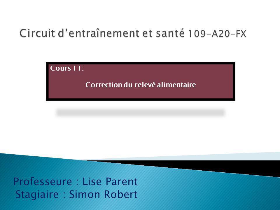 Professeure : Lise Parent Stagiaire : Simon Robert