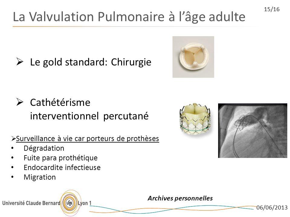 06/06/2013 15/16 La Valvulation Pulmonaire à lâge adulte Archives personnelles Le gold standard: Chirurgie Cathétérisme interventionnel percutané Surv