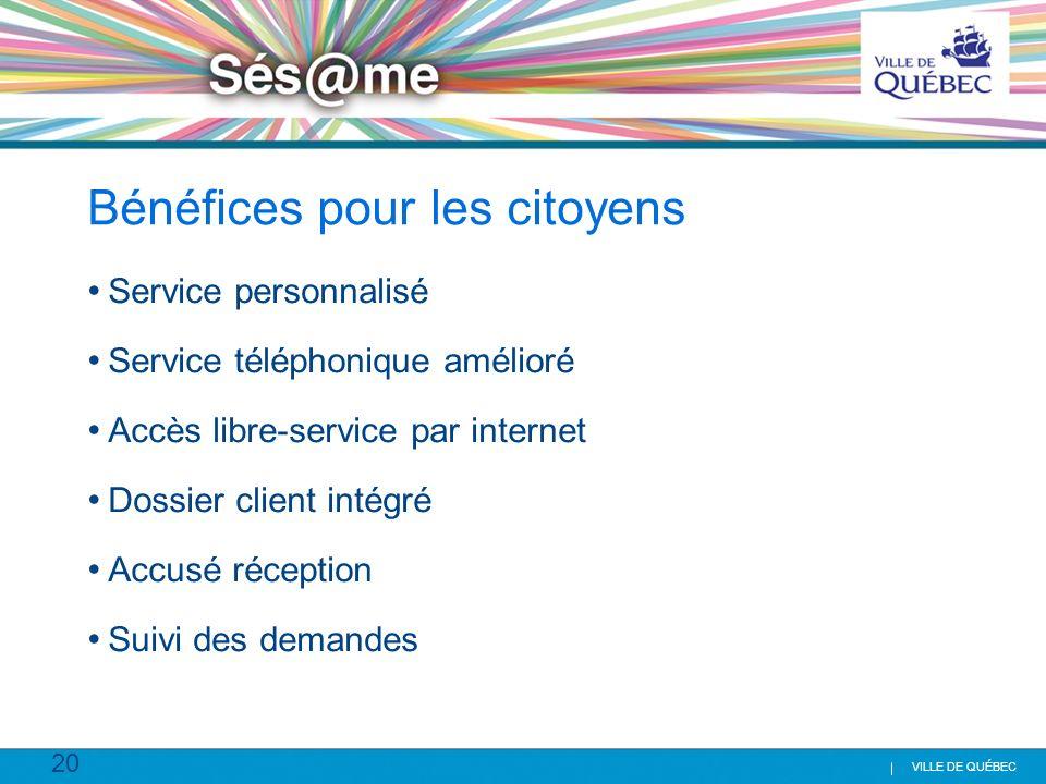 20 VILLE DE QUÉBEC Bénéfices pour les citoyens Service personnalisé Service téléphonique amélioré Accès libre-service par internet Dossier client inté