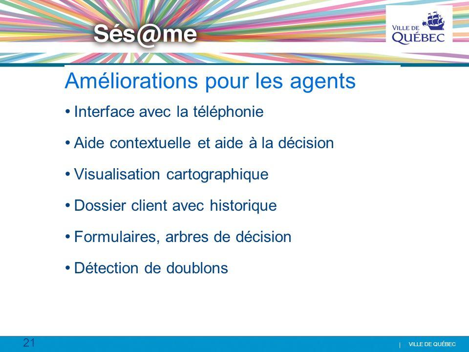 21 VILLE DE QUÉBEC Améliorations pour les agents Interface avec la téléphonie Aide contextuelle et aide à la décision Visualisation cartographique Dos