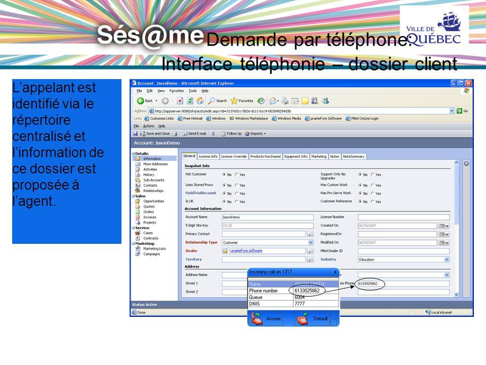 29 VILLE DE QUÉBEC Confidentiel 29 Demande par téléphone: Interface téléphonie – dossier client Lappelant est identifié via le répertoire centralisé e