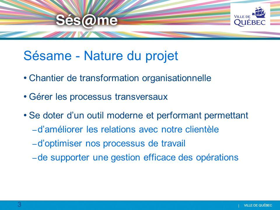 3 VILLE DE QUÉBEC Sésame - Nature du projet Chantier de transformation organisationnelle Gérer les processus transversaux Se doter dun outil moderne e