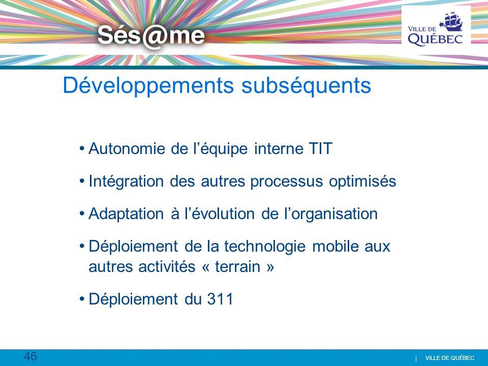 46 VILLE DE QUÉBEC Développements subséquents Autonomie de léquipe interne TIT Intégration des autres processus optimisés Adaptation à lévolution de l