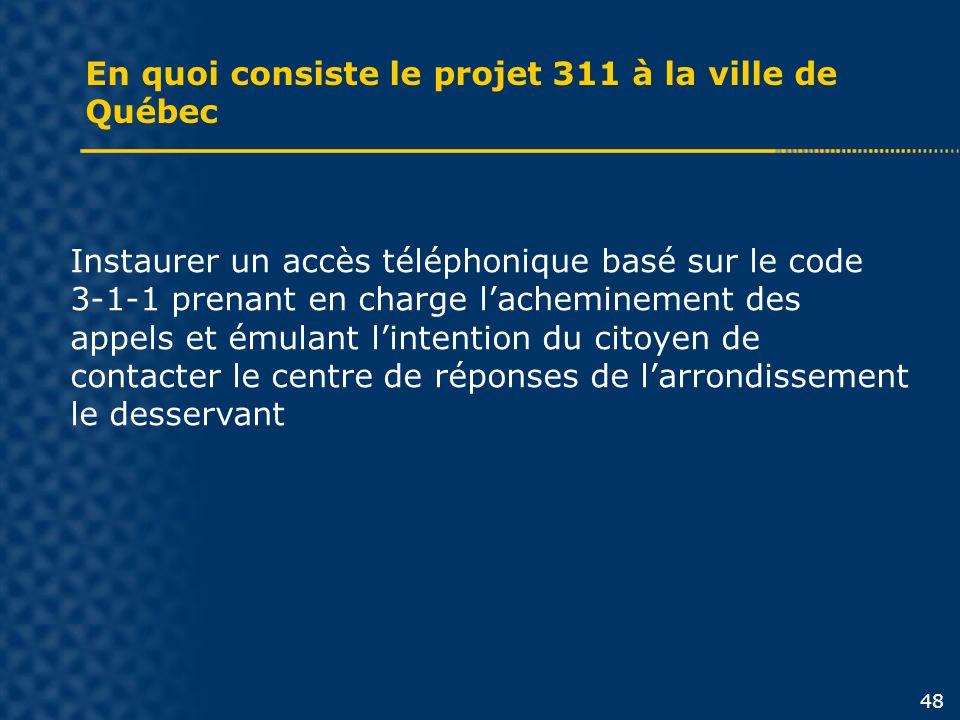 En quoi consiste le projet 311 à la ville de Québec Instaurer un accès téléphonique basé sur le code 3-1-1 prenant en charge lacheminement des appels