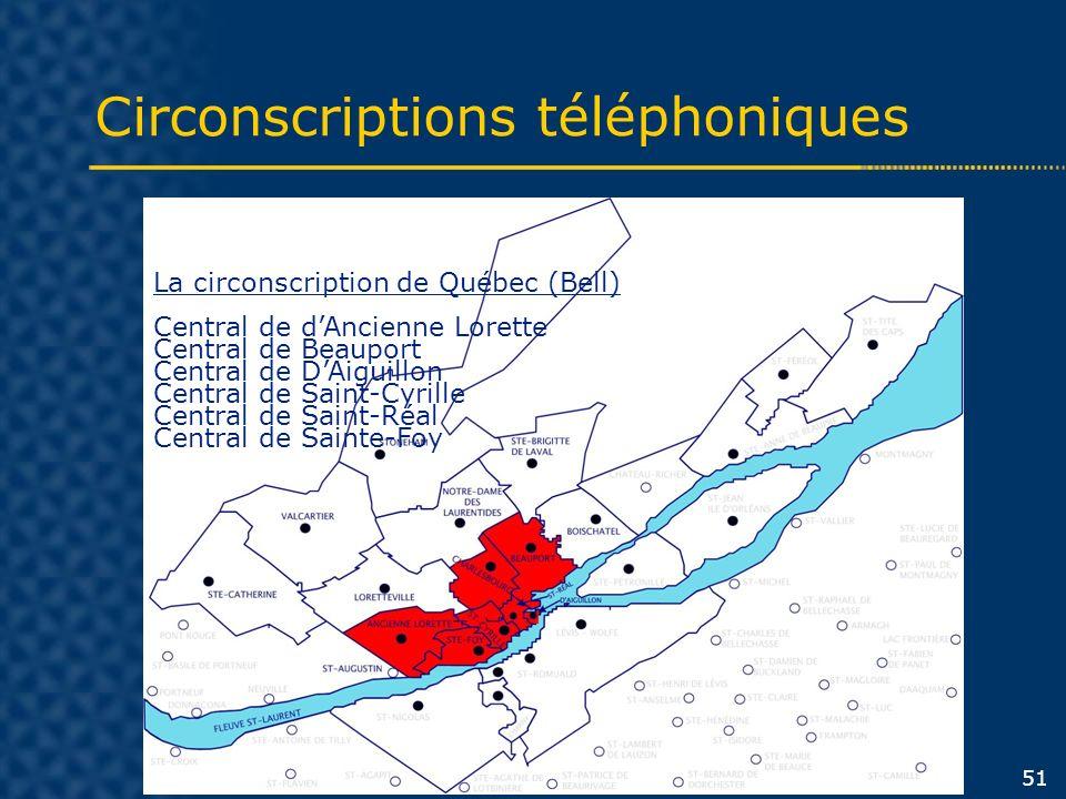 Circonscriptions téléphoniques 51 La circonscription de Québec (Bell) Central de dAncienne Lorette Central de Beauport Central de DAiguillon Central d