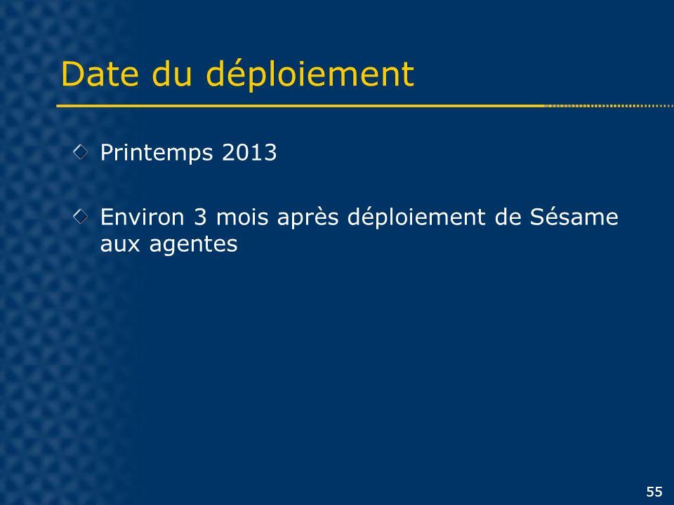 Date du déploiement 55 Printemps 2013 Environ 3 mois après déploiement de Sésame aux agentes