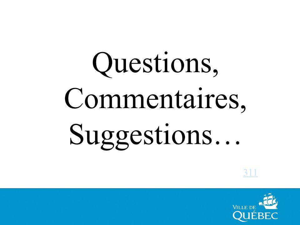56 VILLE DE QUÉBEC Questions, Commentaires, Suggestions… 311