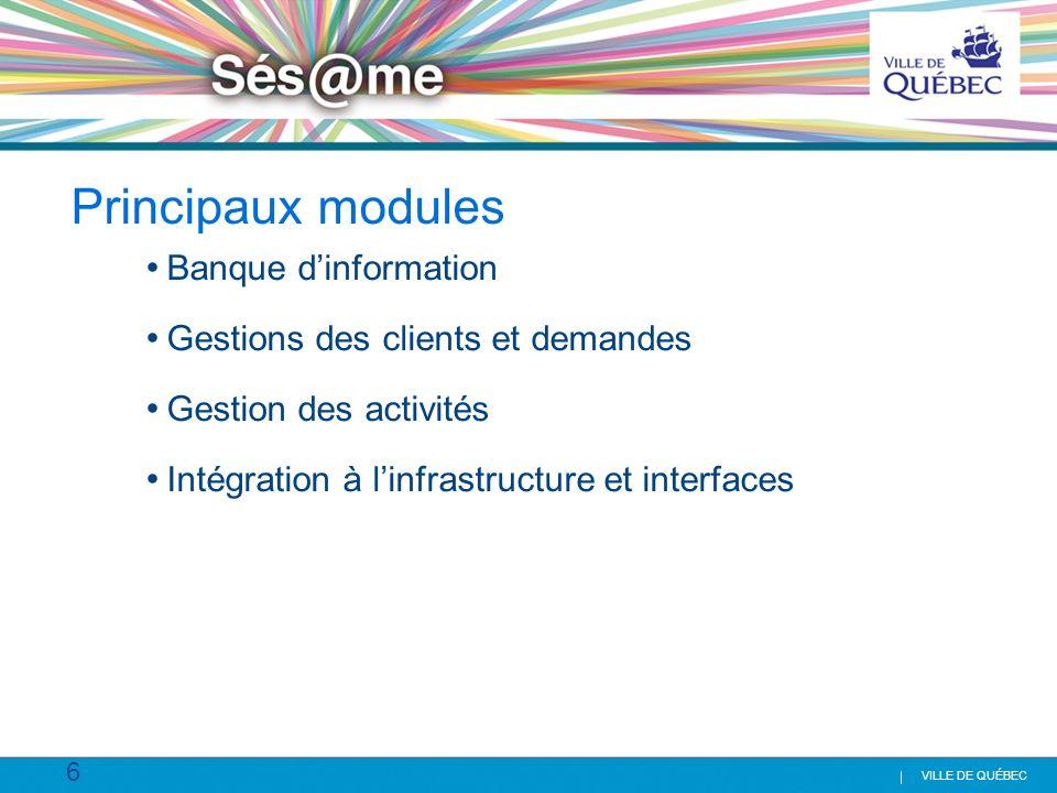6 VILLE DE QUÉBEC Principaux modules Banque dinformation Gestions des clients et demandes Gestion des activités Intégration à linfrastructure et inter