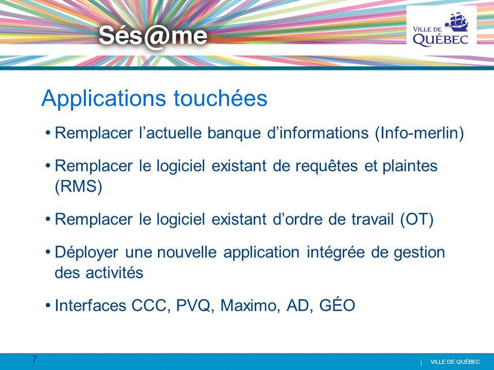 7 VILLE DE QUÉBEC Applications touchées Remplacer lactuelle banque dinformations (Info-merlin) Remplacer le logiciel existant de requêtes et plaintes