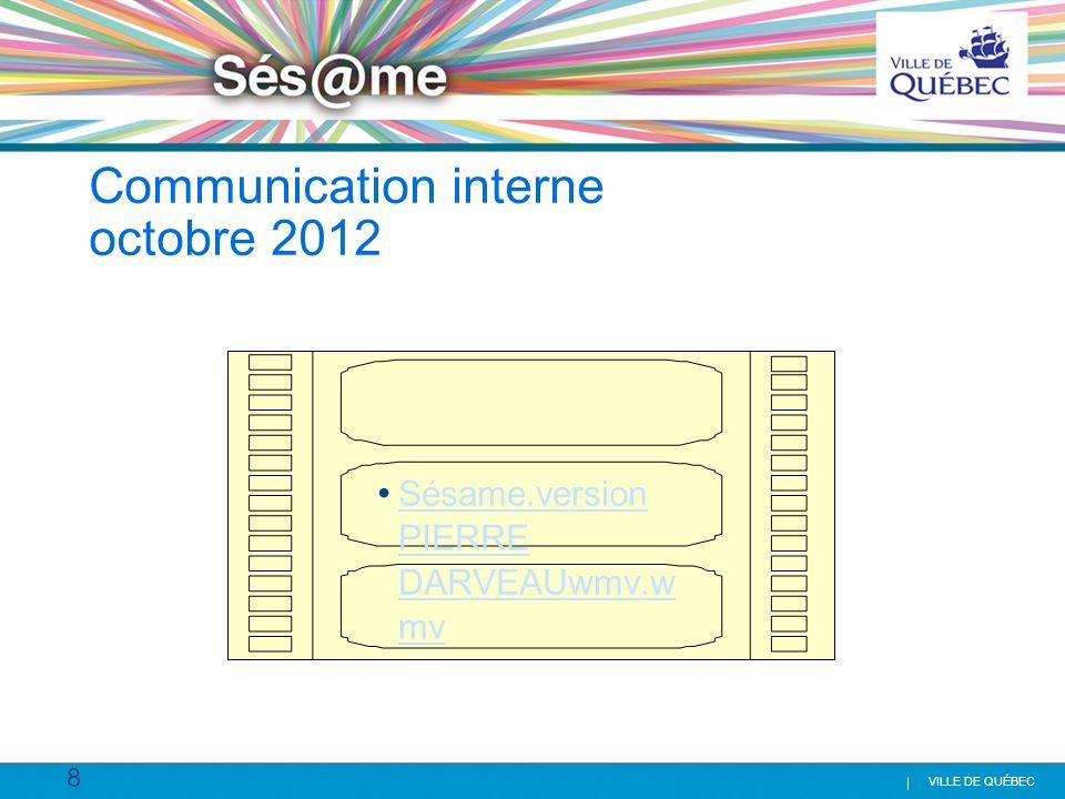 39 VILLE DE QUÉBEC Formation Info-Sésame Déploiement Info-Sésame Formation clients- demandes 07-1208-1209-1210-1211-1212-1201-1302-1303-1304-1305-13 06-13 Agentes 1 ère ligne