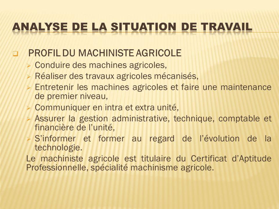 PROFIL DU MACHINISTE AGRICOLE Conduire des machines agricoles, Réaliser des travaux agricoles mécanisés, Entretenir les machines agricoles et faire un