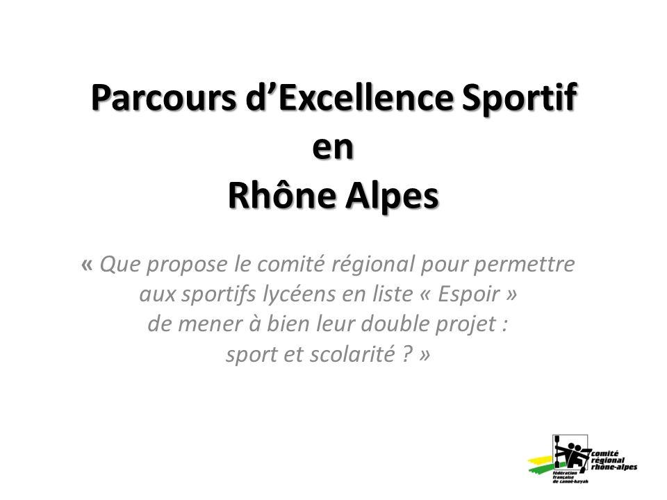 Parcours dExcellence Sportif en Rhône Alpes « Que propose le comité régional pour permettre aux sportifs lycéens en liste « Espoir » de mener à bien l