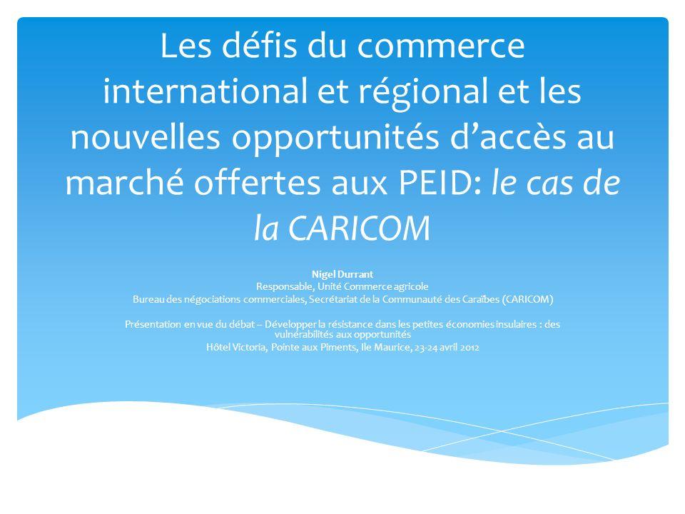 La CARICOM a conclu plusieurs accords commerciaux avec les pays voisins en développement, ainsi quavec lUnion européenne (Accord de partenariat économique), en plus des accords daccès au marché non réciproque quelle a adoptés avec les USA (CBI) et le Canada (CARIBCAN).