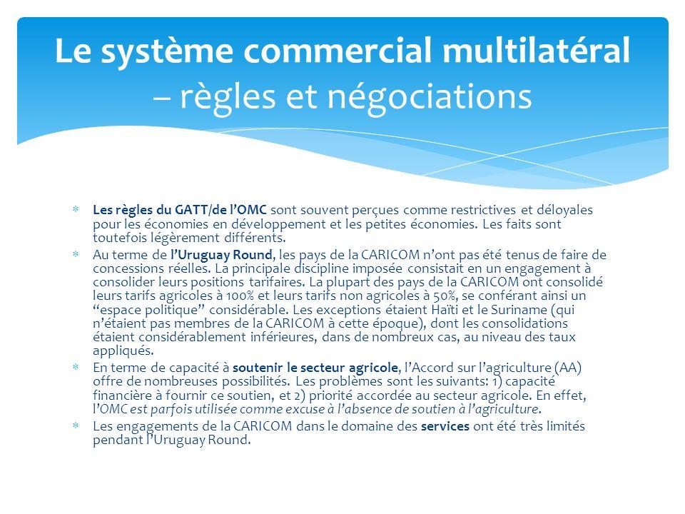 La participation de la CARICOM à ce cycle de négociations a porté essentiellement sur les biens (agriculture et AMNA), les services noccupant quune place mineure.