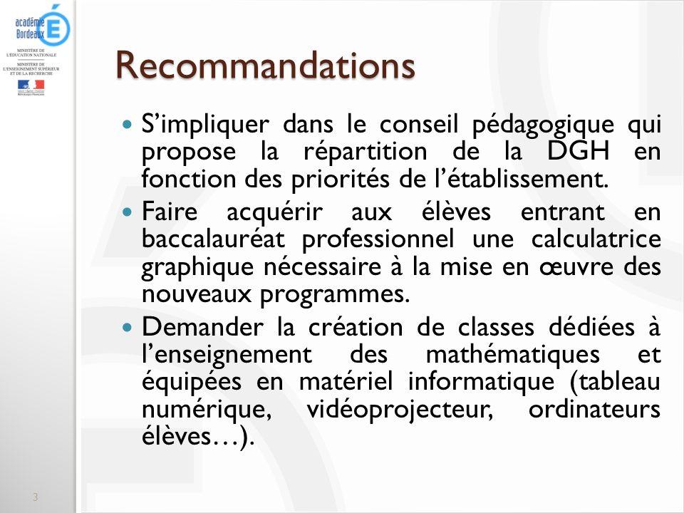 Recommandations Simpliquer dans le conseil pédagogique qui propose la répartition de la DGH en fonction des priorités de létablissement. Faire acquéri