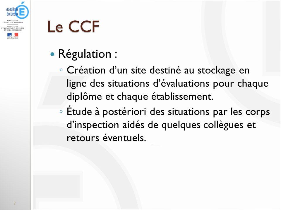 Le CCF Régulation : Création dun site destiné au stockage en ligne des situations dévaluations pour chaque diplôme et chaque établissement. Étude à po