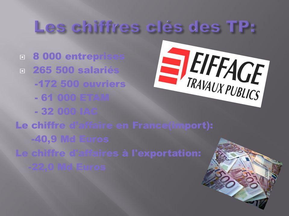 8 000 entreprises 265 500 salariés -172 500 ouvriers - 61 000 ETAM - 32 000 IAC Le chiffre daffaire en France(import): -40,9 Md Euros Le chiffre d'aff