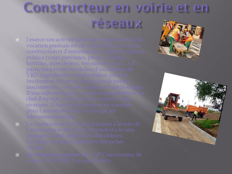 l exerce son activité dans des entreprises dont la vocation générale est de réaliser des travaux de construction et dentretien des voiries et espaces