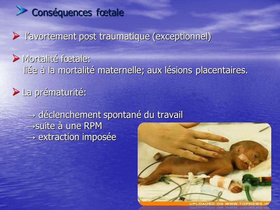 Conséquences fœtale Conséquences fœtale lavortement post traumatique (exceptionnel) lavortement post traumatique (exceptionnel) Mortalité fœtale: Mort